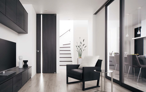 フレームレスデザインの採光タイプのドア